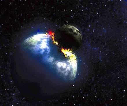 Some scientists suspect that the moon was made from the debris of a monstrous collision billions of years ago - between the newly born Earth and a smaller planet. This artist's conception shows the cosmic crash.